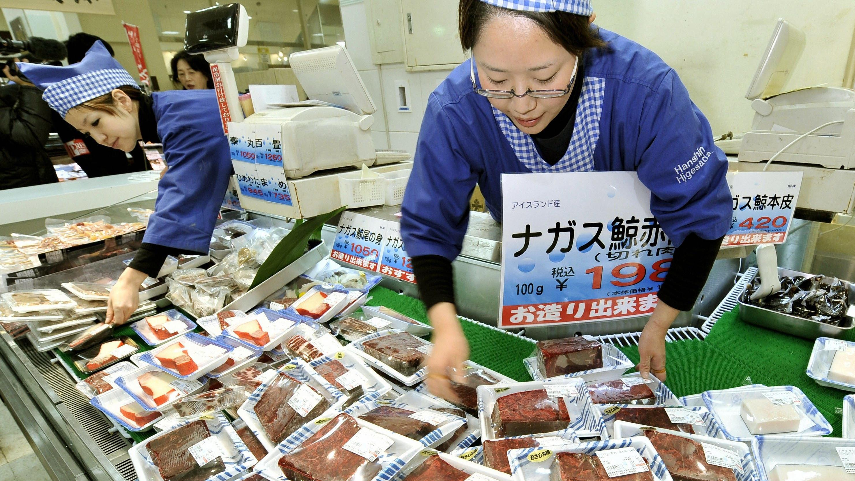 "TOKYO, Japan - Whale meat is sold at an Osaka department store in January 2011. Three-quarters of more than 1,200 tons of meat from whales caught during Japan's self-described ""research whaling"" activities in the Northwest Pacific remains unsold, alt"