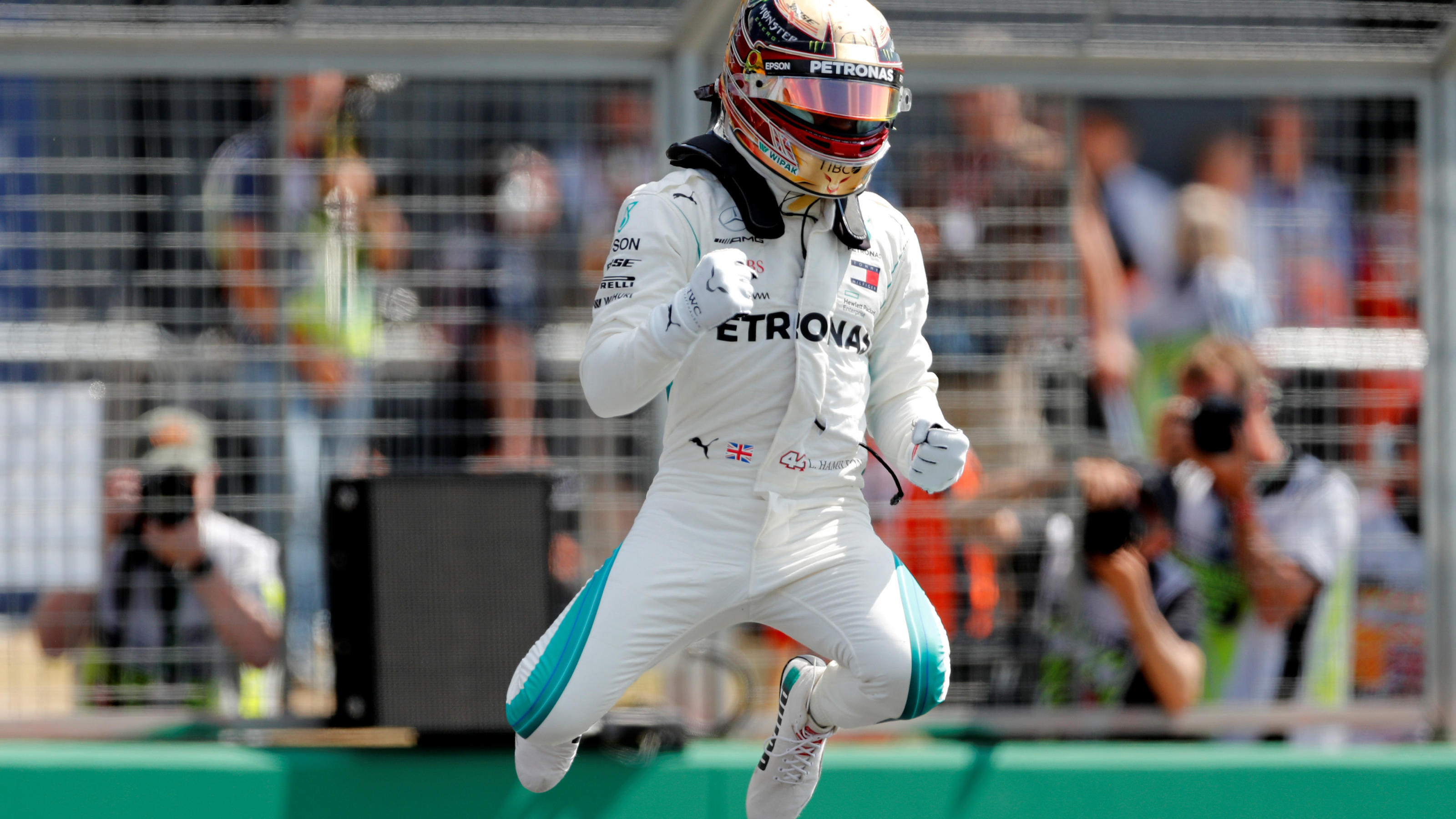 Formula One F1 - British Grand Prix - Silverstone Circuit, Silverstone, Britain - July 7, 2018  MercedesÕ Lewis Hamilton celebrates after qualifying in pole position  Action Images via Reuters/Matthew Childs