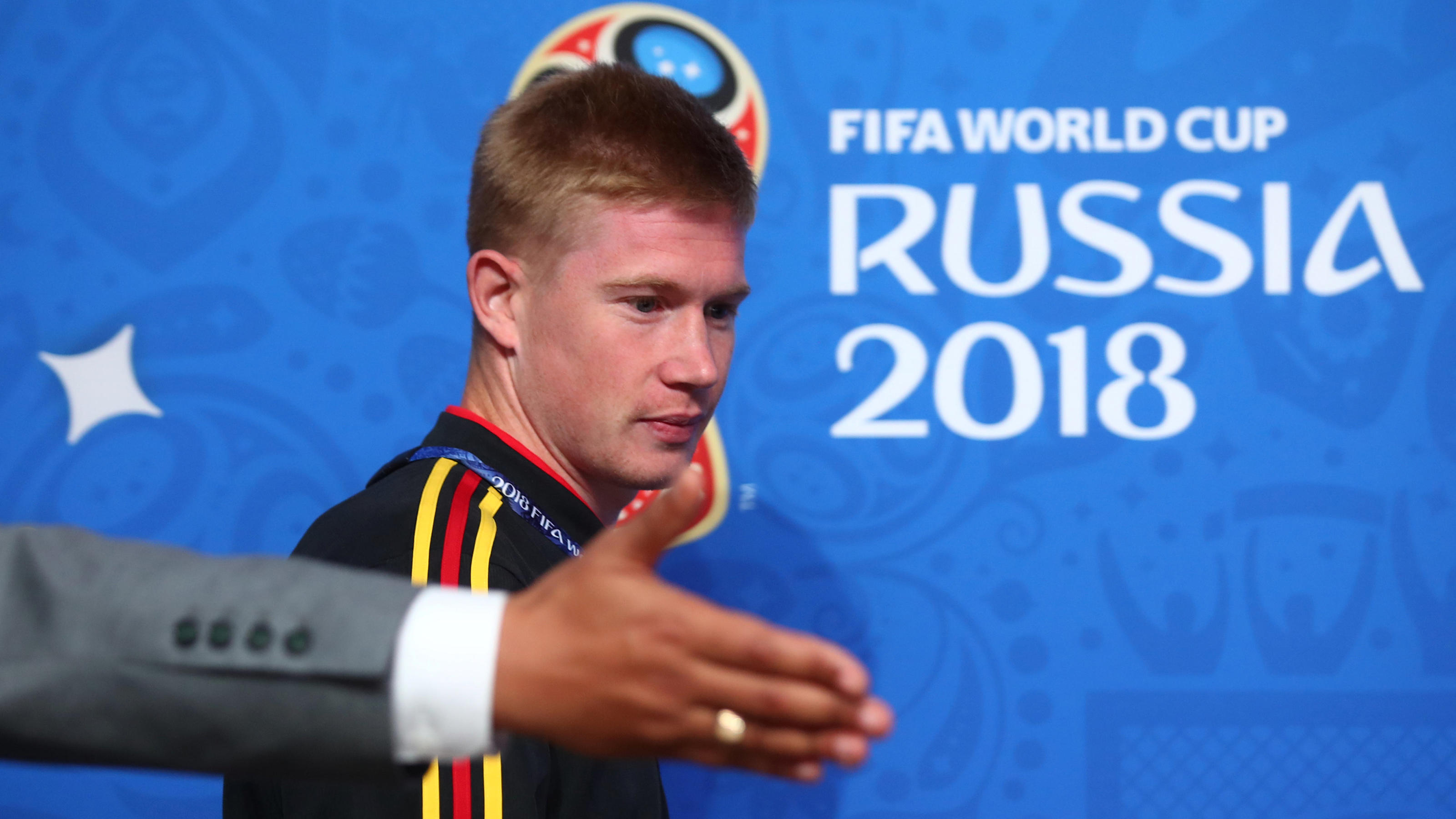 Soccer Football - World Cup - Belgium Press Conference - Saint Petersburg Stadium, Saint Petersburg Russia - July 9, 2018   Belgium's Kevin De Bruyne during the press conference   REUTERS/Michael Dalder