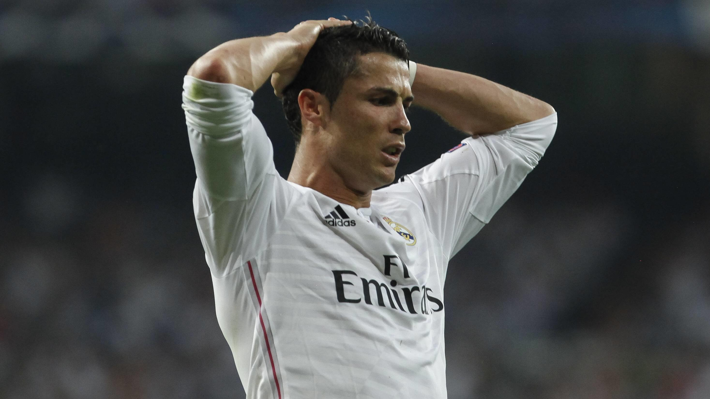 Real Madrid s Cristiano Ronaldo reacts during the Champions League semi final soccer match between Real Madrid and Juventus at Santiago Bernabeu stadium in Madrid, Spain. May 13, 2015. PUBLICATIONxINxGERxSUIxAUTxPOLxDENxNORxSWExONLY (2015051300023)