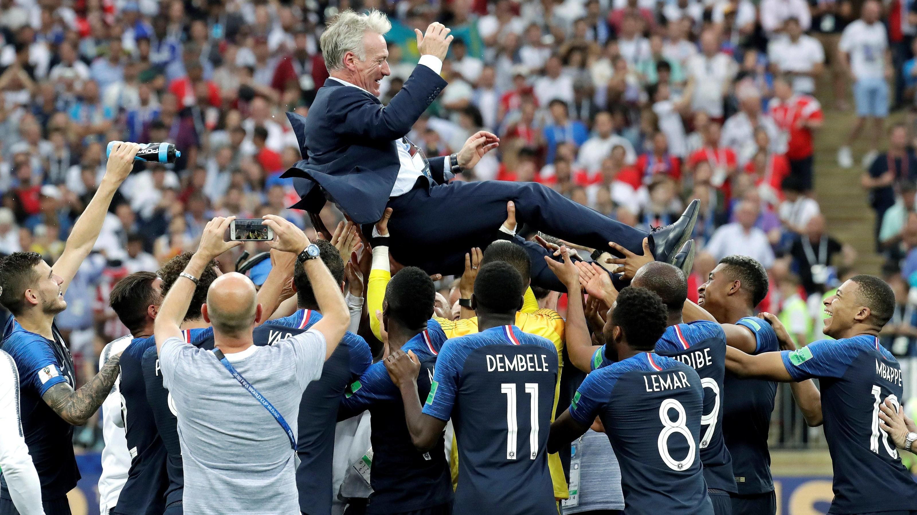 , France s head-coach Didier Deschamps after winning during the FIFA World Cup WM Weltmeisterschaft Fussball 2018 final soccer match between France and Croatia, at Luzhniki Stadium in Moscu, Russia, 15 July 2018. FRANCE VS. CROATIA !ACHTUNG: NUR REDA