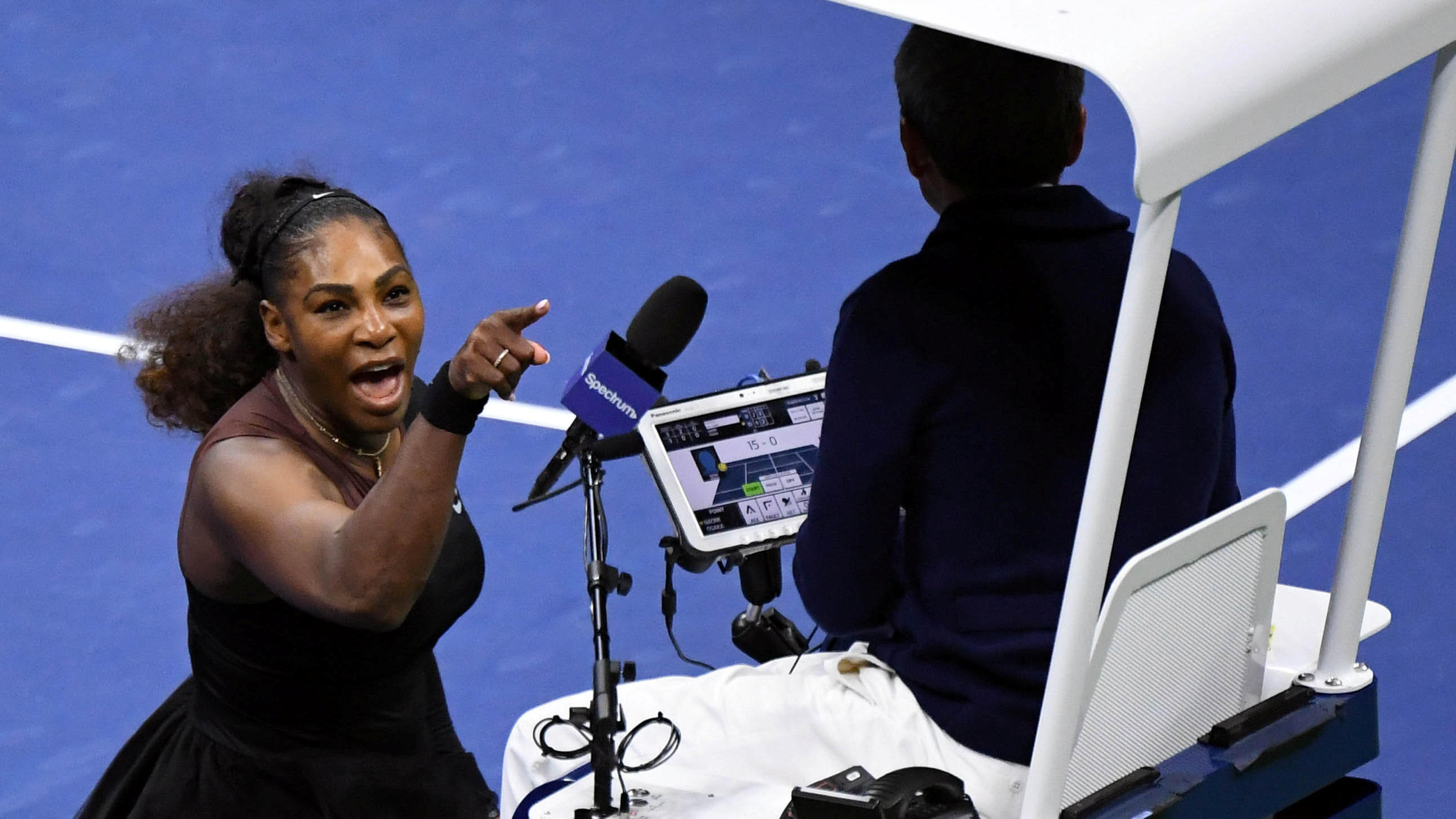 Sep 8, 2018&#x3B; New York, NY, USA&#x3B; Serena Williams of the United States yells at chair umpire Carlos Ramos in the women's final against Naomi Osaka of Japan on day thirteen of the 2018 U.S. Open tennis tournament at USTA Billie Jean King National Tennis