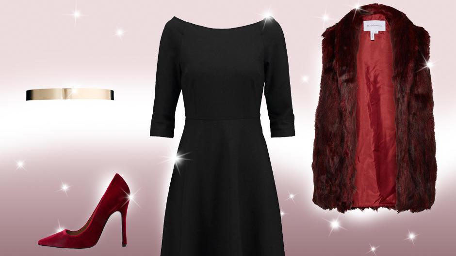schwarzes kleid kombinieren ein kleid drei looks. Black Bedroom Furniture Sets. Home Design Ideas