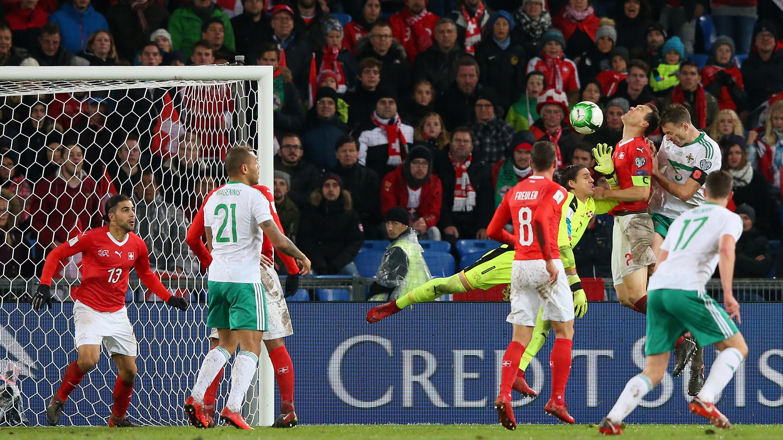 BASEL, SWITZERLAND - NOVEMBER 12:  Jonny Evans of Northern Ireland sees his last minute header cleared off on the line by Ricardo Rodriguez of Switzerland during the FIFA 2018 World Cup Qualifier Play-Off: Second Leg between Switzerland and Northern
