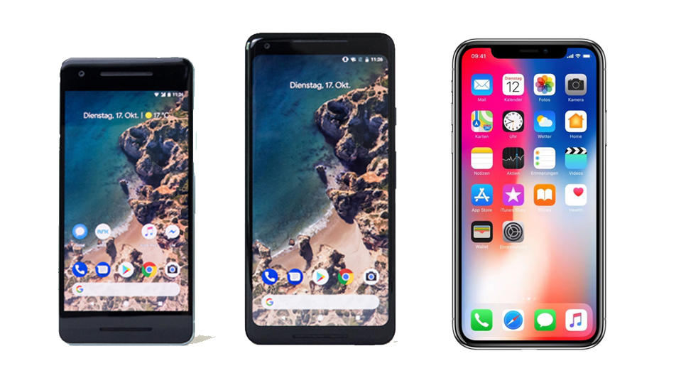 Apple vs. Google: Die Smartphone-Flaggschiffe Pixel 2 ...