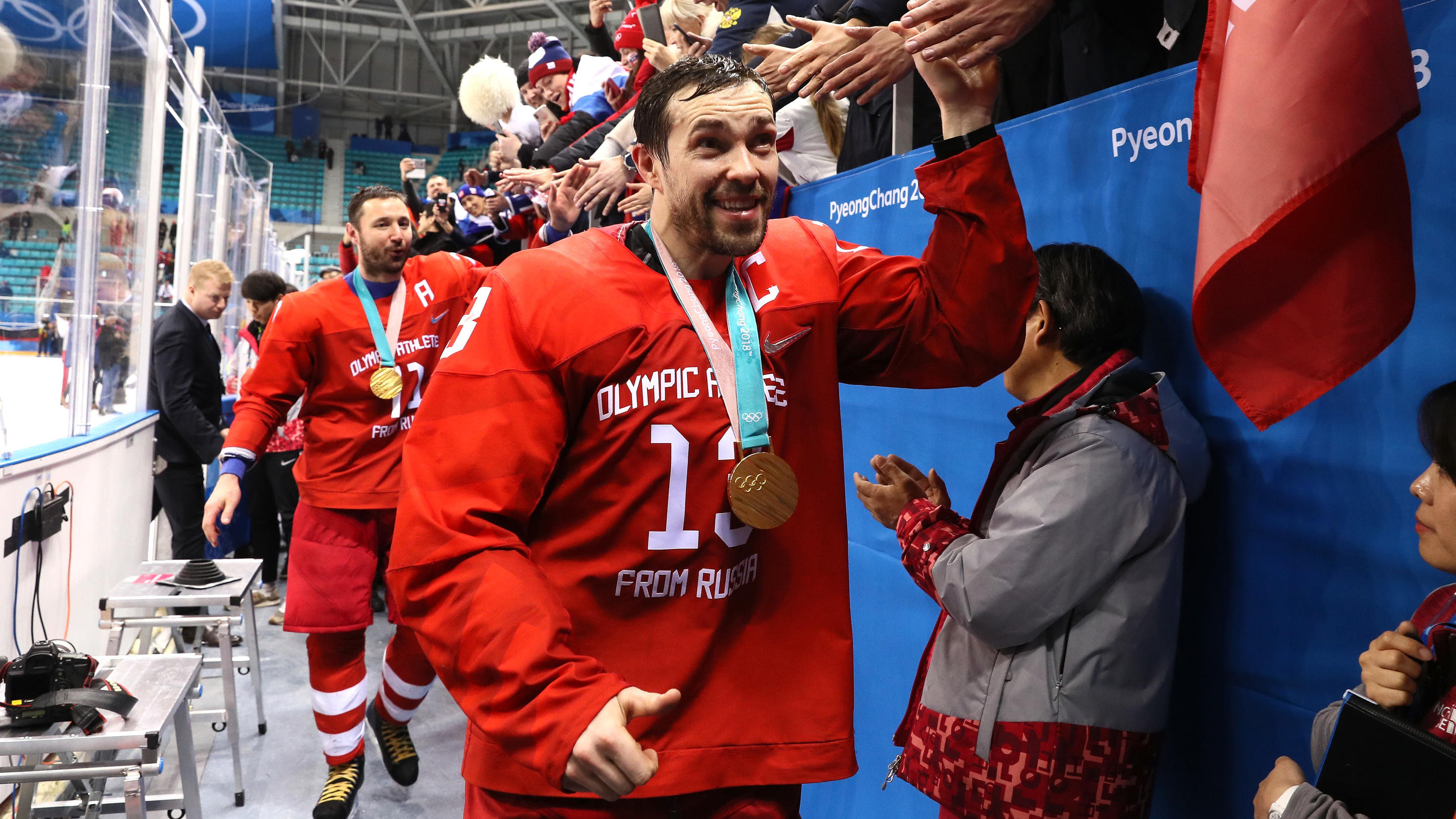 GANGNEUNG, SOUTH KOREA - FEBRUARY 25:  Gold medal winner Pavel Datsyuk #13 of Olympic Athlete from Russia celebrates after defeating Germany 4-3 in overtime during the Men's Gold Medal Game on day sixteen of the PyeongChang 2018 Winter Olympic Games