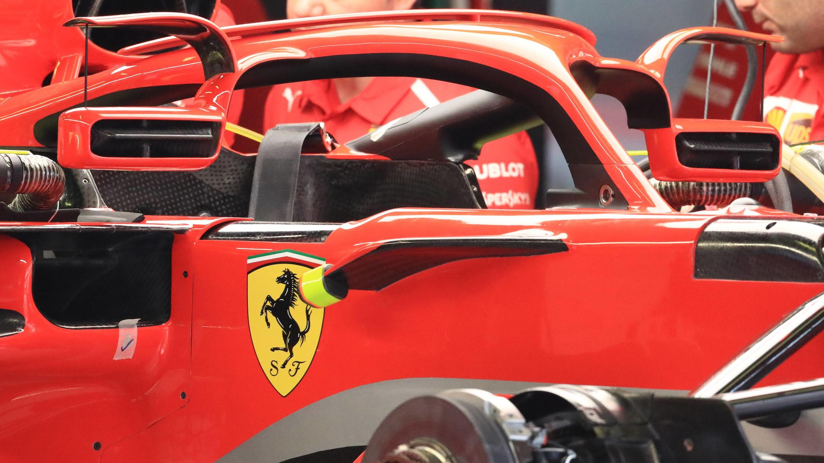 10th May, Circuit de Barcelona, Barcelona, Spain&#x3B; Spanish Formula One Grand Prix, driver arrivals and press conference PK Pressekonferenz Scuderia Ferrari cars show new mirrors on the halo PUBLICATIONxINxGERxSUIxAUTxHUNxSWExNORxDENxFINxONLY ActionPlu