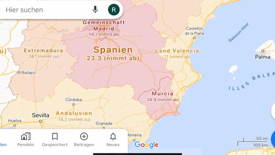 Google Maps Corona-Funktion